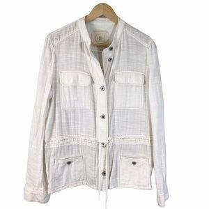 Anthropologie Hei Hei White Shirt Jacket